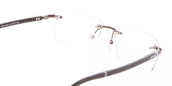 Man Woman's Rimless Frame Brown, Glasses UK-5