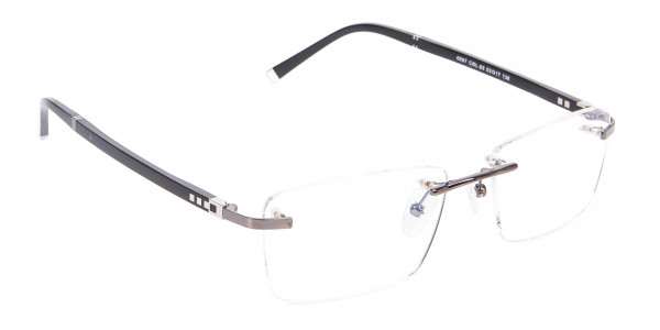 Detailed Rimless Glasses & Ticker Temple-2