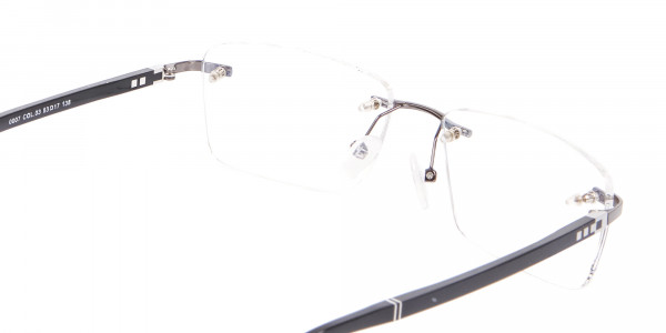 Detailed Rimless Glasses & Ticker Temple-5