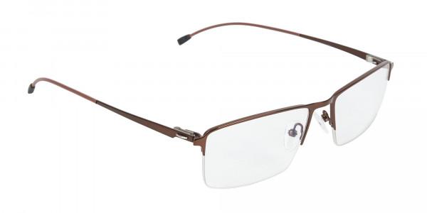 Brown Semi-Rim Glasses with Spring Hinges-2