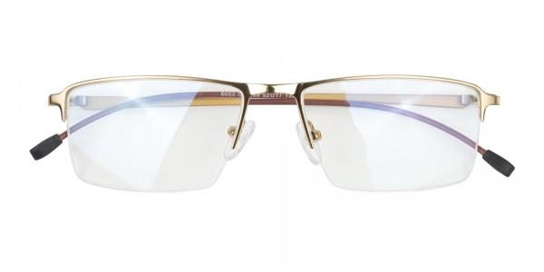 Gold Semi-Rim Glasses with Spring Hinges-6
