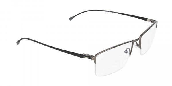 Semi-Rimless Rectangular Glasses in Gunmetal-2