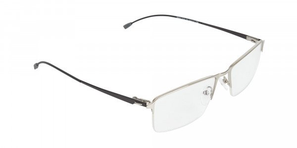 Silver Semi-Rim Rectangle Glasses-02