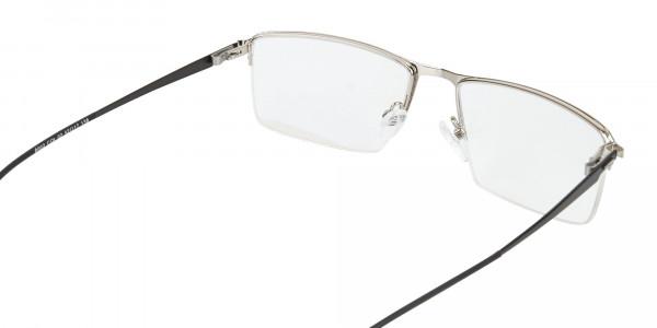 Silver Semi-Rim Rectangle Glasses-5