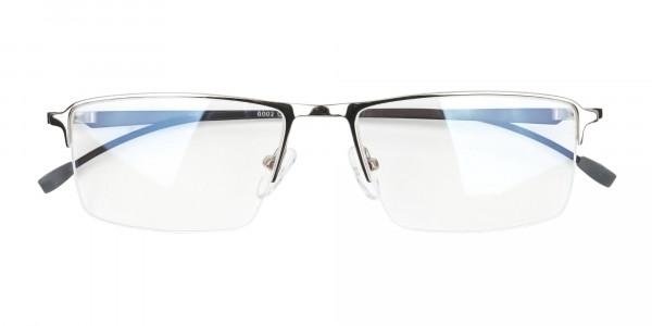 Silver Semi-Rim Rectangle Glasses-6