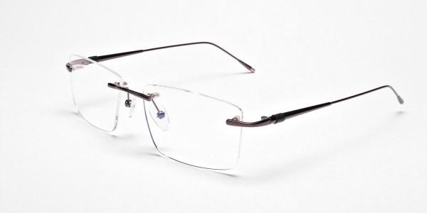 Rimless Glasses in Gunmetal for Men & Women - 3