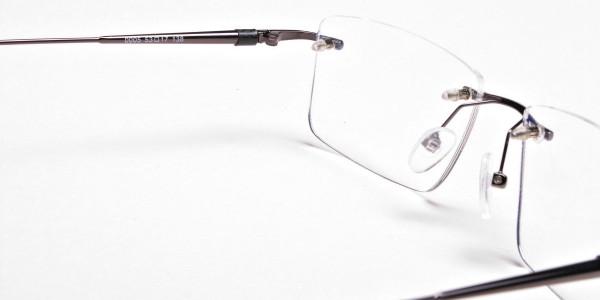 Rimless Glasses in Gunmetal for Men & Women - 6