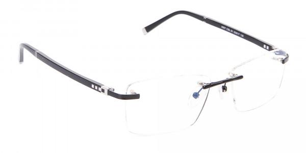 Fine Rectangular Rimless Frame Black-2