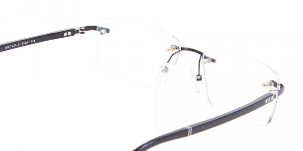 Fine Rectangular Rimless Frame Black-5