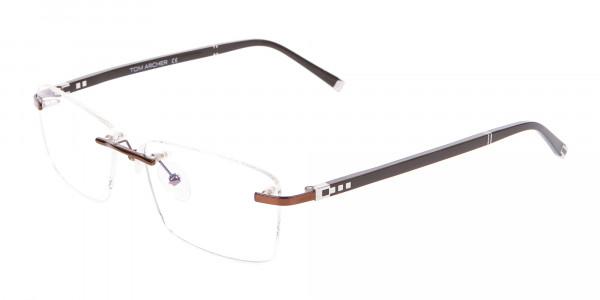 Man Woman's Rimless Frame Brown, Glasses UK-3