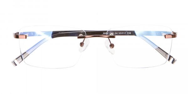 Man Woman's Rimless Frame Brown, Glasses UK-6