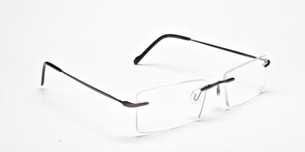 Gunmetal Rimless Eyeglasses Frames for Men & Women - 2