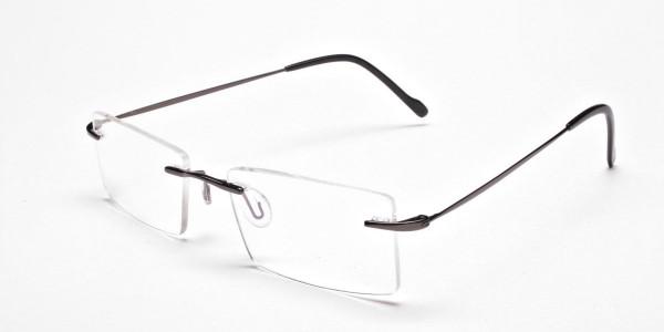 Gunmetal Rimless Eyeglasses Frames for Men & Women - 3