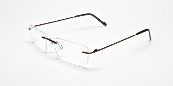 Rimless Glasses in Brown for Men & Women - 3