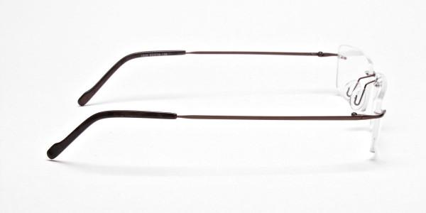Rimless Glasses in Brown for Men & Women - 4