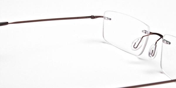 Rimless Glasses in Brown for Men & Women - 5