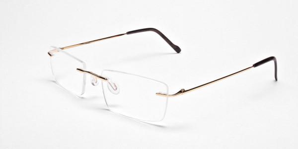 Rimless Glasses in Gold for Men & Women -3