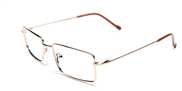 Rectangular Glasses in Gold, Eyeglasses - 3