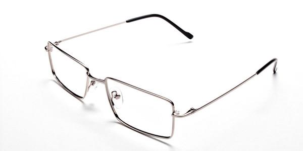 Rectangular Glasses in Silver, Eyeglasses -3