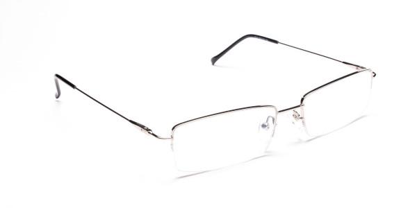 Silver Half-Rim Rectangular Glasses - 2