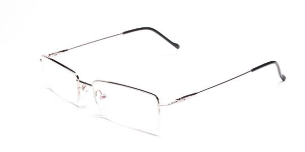 Silver Half-Rim Rectangular Glasses - 3
