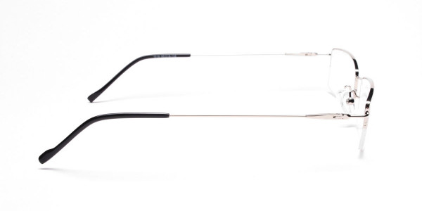 Silver Half-Rim Rectangular Glasses - 4