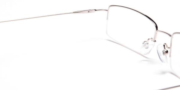 Silver Half-Rim Rectangular Glasses - 5