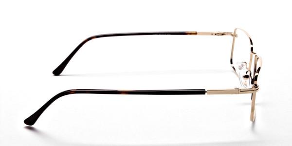 Rectangular Eyeglasses in Gold, Eyeglasses - 4