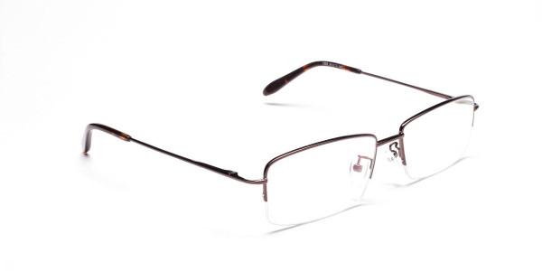 Brown Half Rim Rectangular Eyeglasses -2
