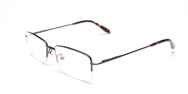 Brown Half Rim Rectangular Eyeglasses -3