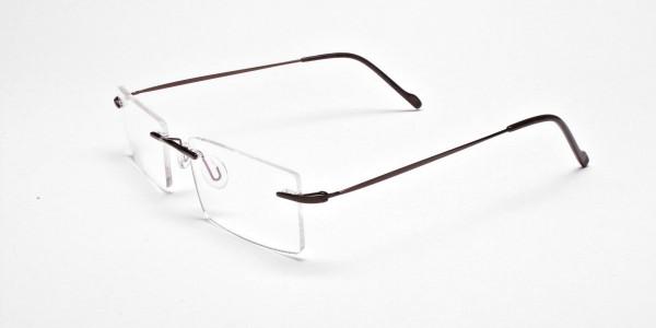 Rimless Glasses in Brown for Men & Women- 3