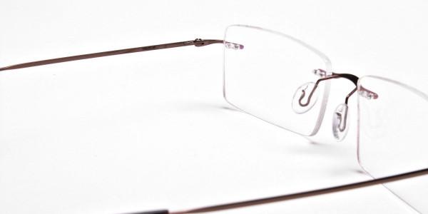 Rimless Glasses in Brown for Men & Women -5