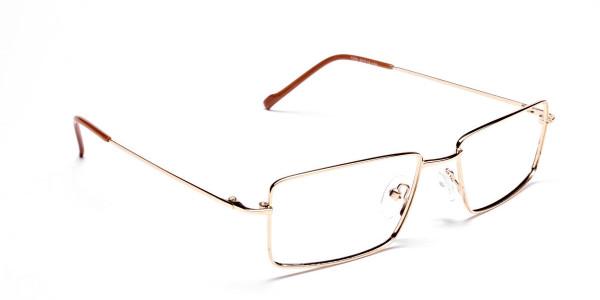 Rectangular Glasses in Gold, Eyeglasses - 2