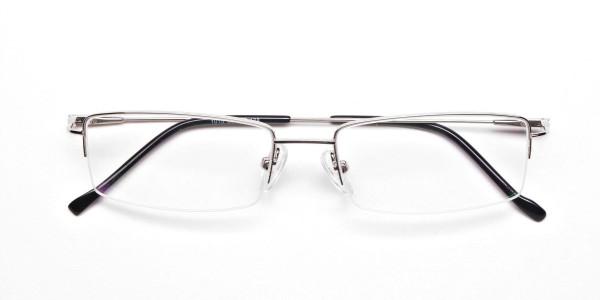 Silver Half-Rim Rectangular Glasses - 6