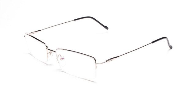 Silver Half-Rim Rectangular Glasses - 3