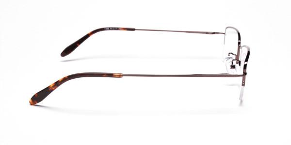 Brown Half Rim Rectangular Eyeglasses -4
