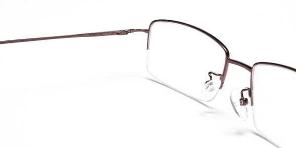 Brown Half Rim Rectangular Eyeglasses -5
