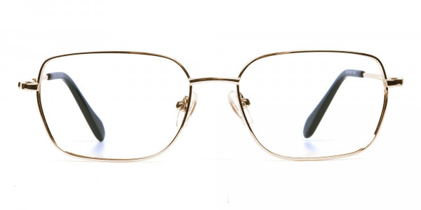 Rectangular Eyeglasses in Gold, Eyeglasses - 1