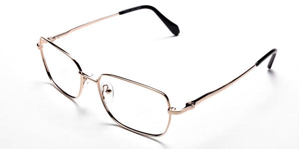 Rectangular Eyeglasses in Gold, Eyeglasses - 3