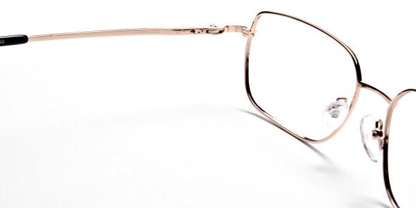 Rectangular Eyeglasses in Gold, Eyeglasses - 5
