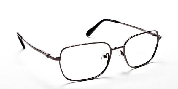 Rectangular Eyeglasses in Gunmetal, Eyeglasses - 2