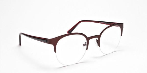 Browline Eyeglasses in Burgundy, Eyeglasses - 2