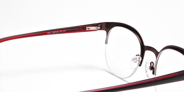 Browline Eyeglasses in Burgundy, Eyeglasses - 5