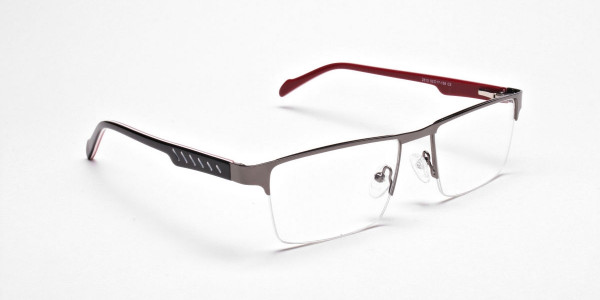 Rectangular Glasses in Gunmetal, Eyeglasses -2