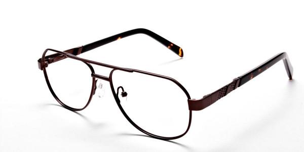 Brown Aviator Eyeglasses Frame, Eyeglasses -3