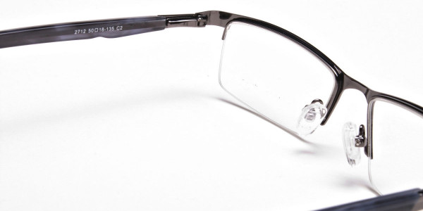 Rectangular Glasses in Gunmetal, Eyeglasses -5