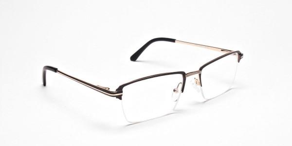 Black & Gold Rectangular Glasses, Eyeglasses -2