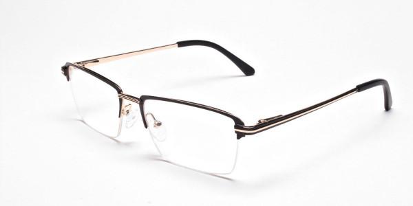 Black & Gold Rectangular Glasses, Eyeglasses -3
