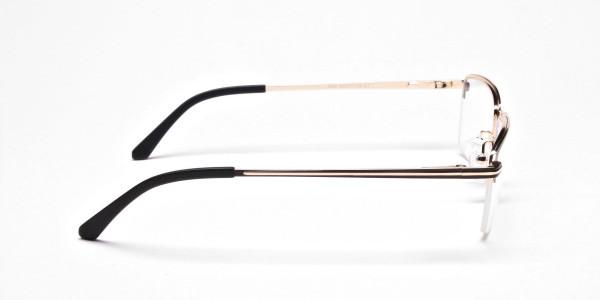 Black & Gold Rectangular Glasses, Eyeglasses -4