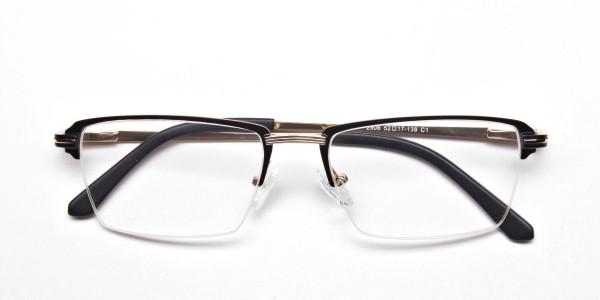 Black & Gold Rectangular Glasses, Eyeglasses -5